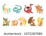 mythological animals  set for... | Shutterstock .eps vector #1072287080