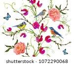 seamless vector floral pattern... | Shutterstock .eps vector #1072290068