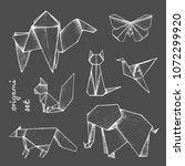 origami   set of 7 white paper... | Shutterstock .eps vector #1072299920
