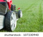 Closeup Of Grassmower Mowing...