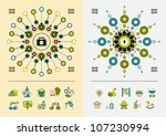 icons and symmetric infographics