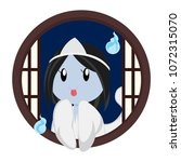 cute ghost at round window | Shutterstock .eps vector #1072315070