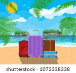 modern and vintage travel bag... | Shutterstock .eps vector #1072338338