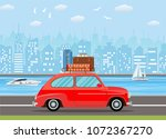 retro travel van car with bag... | Shutterstock .eps vector #1072367270