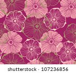 doodle graphical pink flowers... | Shutterstock .eps vector #107236856
