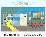 clean and dirty kitchen with... | Shutterstock .eps vector #1072371860