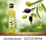 glass bottle with oil. olives... | Shutterstock .eps vector #1072378946