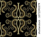 ornate floral gold 3d seamless... | Shutterstock .eps vector #1072390379