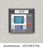 atm machine on a brick wall... | Shutterstock .eps vector #1072391756