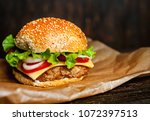 delicious fresh homemade burger ... | Shutterstock . vector #1072397513