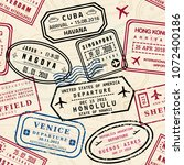 passport stamps vector seamless ... | Shutterstock .eps vector #1072400186