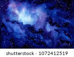 watercolor outer space and... | Shutterstock . vector #1072412519