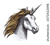 unicorn with long horn and... | Shutterstock .eps vector #1072422098