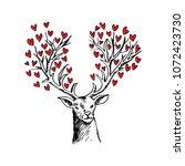 abstract deer with heart shape | Shutterstock .eps vector #1072423730