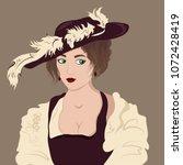 beautiful woman in vintage... | Shutterstock .eps vector #1072428419