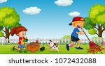 brother and sister gardening in ... | Shutterstock .eps vector #1072432088