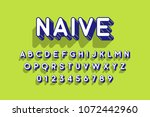 rounded retro style 3d font ... | Shutterstock .eps vector #1072442960