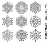 set of vector snowflakes. black ... | Shutterstock .eps vector #1072468793