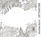 summer tropical leaves vector...   Shutterstock .eps vector #1072469288