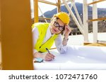busy female architect working    Shutterstock . vector #1072471760