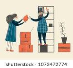 couple unpacking boxes. vector...   Shutterstock .eps vector #1072472774