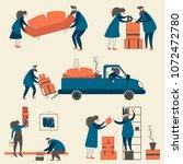 people moving set. vector...   Shutterstock .eps vector #1072472780