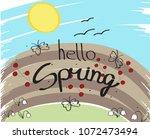 hello spring background. for... | Shutterstock .eps vector #1072473494