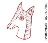 fox head hand drawn cute vector ...   Shutterstock .eps vector #1072473908