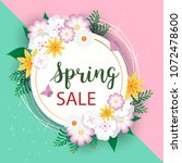 spring sale background with... | Shutterstock .eps vector #1072478600
