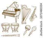 set of musical instruments.... | Shutterstock .eps vector #1072480334