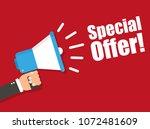 hand holding megaphone  ... | Shutterstock .eps vector #1072481609