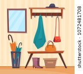 hall interior with furniture...   Shutterstock .eps vector #1072481708