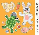 turtle and rabbit cartoon...   Shutterstock .eps vector #1072482458
