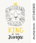 hand drawn cute lion in a crown ... | Shutterstock .eps vector #1072482800