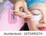 eyelash extension. beautiful... | Shutterstock . vector #1072490174