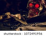 still life  pirate skull with... | Shutterstock . vector #1072491956
