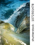 swirling water from waterfall... | Shutterstock . vector #1072501478