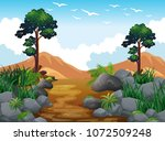 forest scene and rock mountain... | Shutterstock .eps vector #1072509248
