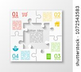 four sided 3d puzzle... | Shutterstock .eps vector #1072543583