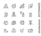 satellite related icons  thin... | Shutterstock .eps vector #1072544453