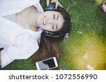 portrait charming beautiful... | Shutterstock . vector #1072556990