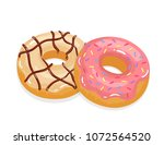 delicious appetizing donuts... | Shutterstock .eps vector #1072564520
