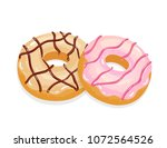 delicious appetizing donuts... | Shutterstock .eps vector #1072564526