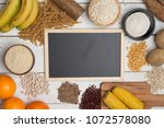 carbohydrates  different plates | Shutterstock . vector #1072578080