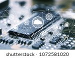 white cloud and microchip | Shutterstock . vector #1072581020