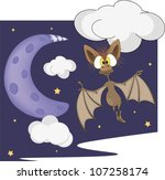 bat and the moon cartoon | Shutterstock .eps vector #107258174