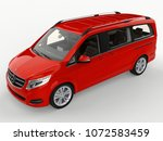 red mercedes benz v class on a... | Shutterstock . vector #1072583459