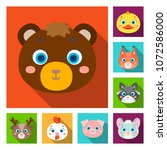 muzzles of animals flat icons...   Shutterstock .eps vector #1072586000
