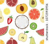 pattern with tropical fruits on ... | Shutterstock .eps vector #1072593956