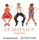 two flapper girls and one man... | Shutterstock .eps vector #1072597190